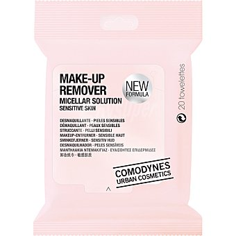 Comodynes Urban Cosmetics toallitas desmaquillantes para pieles sensibles Paquete 20 unidades