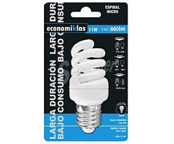 ECONOMIKLAS Bombilla bajo consumo espiral 11 Watios, casquillo E27 (grueso), luz fría 1 unidad