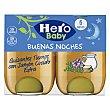 Tarrito de guisantes tiernos con jamón cocido de categoria extra, a partir de 6 meses 2 x 190 g Hero Baby Buenas Noches