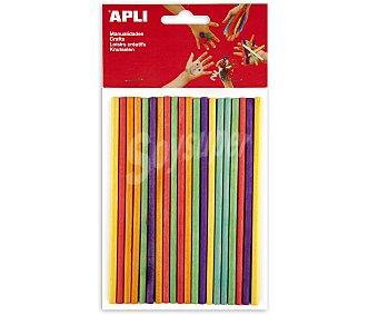 APLI Bolsa de 25 palos redondos de madera de 150 x 5 milímetros y de diferentes colores 1 unidad