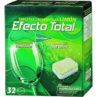El Corte Inglés Detergente lavavajillas efecto total limón Caja 32 pastillas