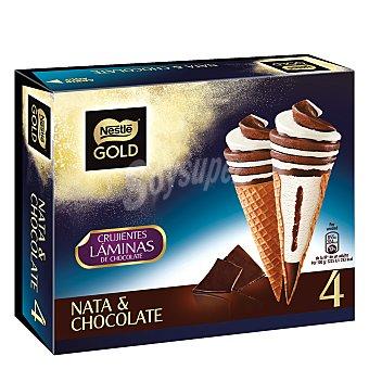 Nestlé Cono de helado de nata y chocolate gold 4 unidades de 281 g