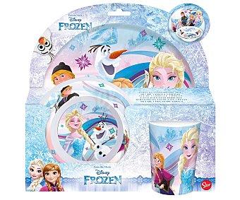 Disney Frozen Set de vajilla infantil fabricadas en melamina, cuenco, plato y vaso con diseño Frozen, disney.