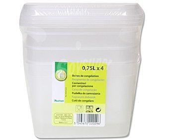Productos Económicos Alcampo Pack de 4 recipientes de plástico transparente con tapa 0,75 litros 1 Unidad