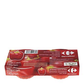 Carrefour Pimientos rojos en tiras Pack de 2x70 g