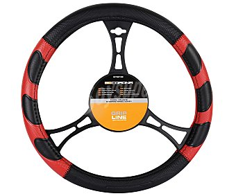 BCCORONA Cubre Volante Grip de 37 a 39 Centímetros de Diámetro, Color negro/rojo 1 Unidad