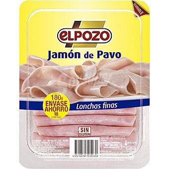 ElPozo Jamón de pavo lonchas finas envase recerrable 180G