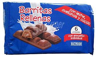 Hacendado Chocolatina barritas rellenas (leche,avellanas y cacao) Paquete 6 u, 130 g