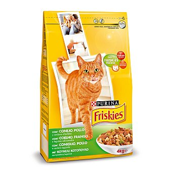 Friskies Purina Alimento completo para gato adulto con conejo y pollo con verduras bolsa 4 kg Bolsa 4 kg