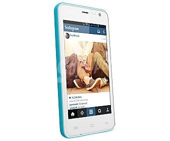 "Yezz andy 4EI2 Teléfono móvil libre blanco/azul, procesador: Dual-Core, Ram: 512MB, almacenamiento: 4GB ampliable mediante MicroSD, pantalla: 4"" 800 x 480px, cámara: 5 Mpx, Dual-sim, Android 4.4"