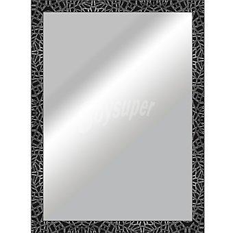 HERGON Espejo plano 50 x 70 en color negro y plata