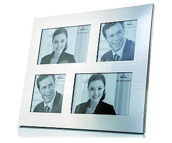 HOFMANN Marco de metal múltiple para 4 fotos, 2 fotos de 10x10 cetnímetros y 2 de 10x15, tamaño exterior: 31,8x26,7 centímetros, modelo 5002 1 Unidad