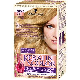 Keratin Color Schwarzkopf Tinte nº 7.0 rubio natural coloración permanente de cuidado caja 1 unidad Caja 1 unidad