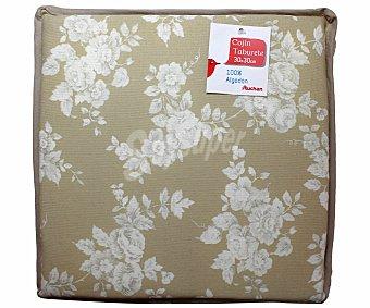 AUCHAN Cojín estampado para taburete, modelo Panama, color beige 30x30 centímetros 1 Unidad
