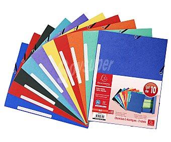 Exacompta Pack de 10 carpetas con gomas tamaño A4, exacompta. Pack de 10