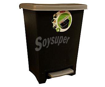 Curver Cubo de basura con pedal, capacidad 25 litros, color negro y plata 1 unidad