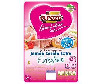 ElPozo Jamón cocido con contenido reducido en sal en lonchas extra finas 115 gramos