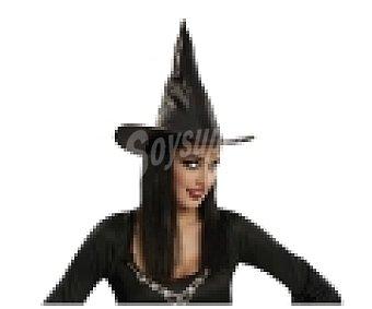 MY OTHER ME Complemento para disfraz Halloween, Sombrero de bruja color negro con pelo 1 unidad