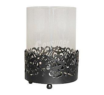 GÓTICA Portavela con copa con acabado en imitación a forja de diseño clásico color negro, 10 centímetros de diámetro y 14.5 alto 1 Unidad