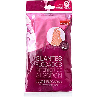 Aliada Guantes flocado rosa talla pequeña con el interior de algodón Bolsa 2 unidades