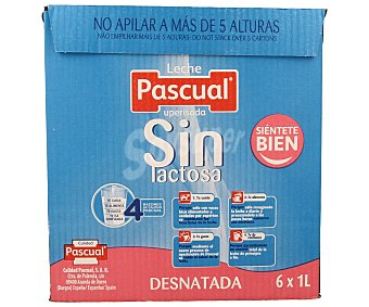 Pascual Leche desnatada sin lactosa 6 unidades de 1 L