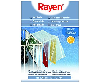 Rayen Funda de plástico para proteger de la lluvia la ropa tendida, aroma a limón, 135x260cm. rayen