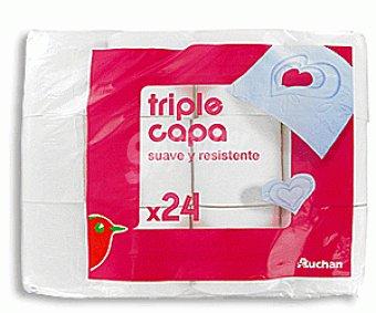 Auchan Papel higienico 3 capas Paquete de 24 unidades