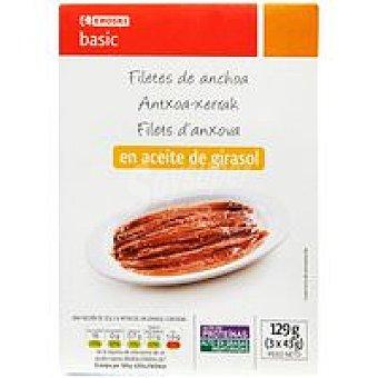 Eroski Basic Anchoa en aceite de girasol Pack 3x23 g