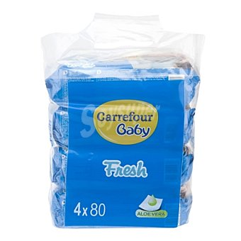 Carrefour Baby Toallitas bebé Classic con aloe vera Pack 4x80 ud