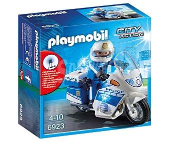 Playmobil Escenario de juego Moto de policía con luces led, City Action 6923 playmobil