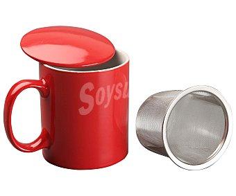 VERSA Taza con infusionador modelo Ikas, con capacidad de 350 mililitros y fabricada en porcelana de color rojo 1 Unidad