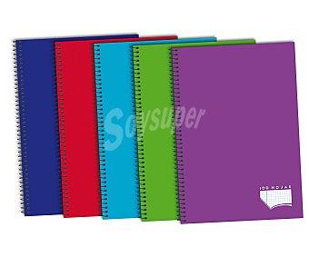 Auchan Cuaderno DIN A4 con cuadricula de 4x4 milímetros,100 hojas de 80 gramos, tapas de polipropileno de alta resistencia y microperforado con encuadernación con espiral metálica 1 unidad