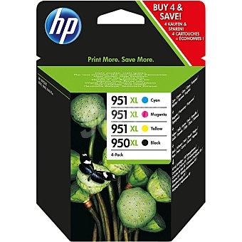 HP Nº 950 XL + 951 XL cartuchos de tinta negro y tricolor Pack 4 unidades