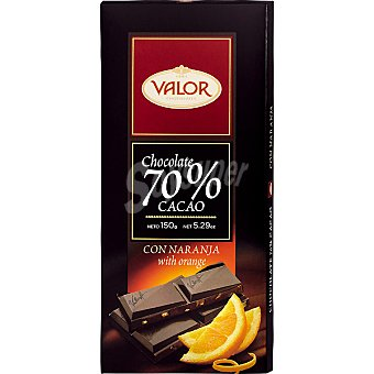 VALOR Premium Chocolate negro 70% cacao con naranja Tableta 150 g