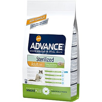 Advance Affinity Alimento de alta gama para gatos esterilizados para prevenir la obesidad con pavo y cebada Sterilized Bolsa 1,5 kg
