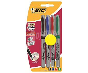 Bic Lote de 4 marcadores permanentes para CD y dvd, con punta cónica fina con grosor de trazo de 0.85 milímetros y colores negro, azul, rojo y verde 1 unidad