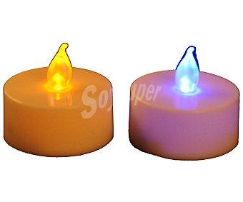 Actuel Lote de 2 velas calientaplatos o tealights de color blanco y con bombilla led que emite luz multicolor ACTUEL.