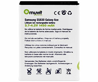 MUVIT Batería de litio, capacidad 1450mAh, compatible con Samsung Galaxy Ace