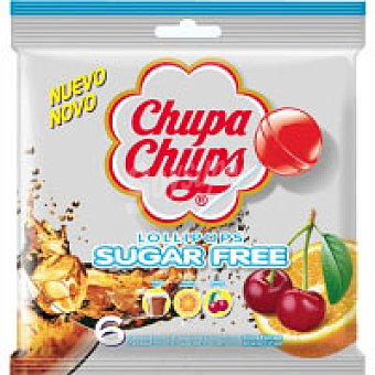 Chupa Chups Caramelos con palo sabores sin azúcar Bolsa 66 g