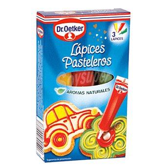 DR.OETKER Lápices Pasteleros con colores y aromas naturales 3 unidades (57 gr)