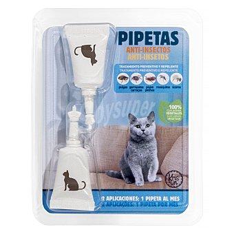 Krislin Pipetas gato tratamiento preventivo y repelente insectos Paquete 2 u