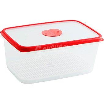 QUID Frigo-Box Hermético Rectangular transparente con filo rojo 3l