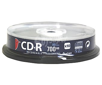 AUCHAN 10 CD-R Pack de 10 cd's CDR80 52X auchan Pack de 10