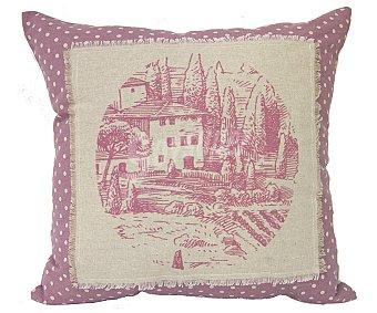 Auchan Cojín color rosa con estampado de topos blancos y paisaje bordado en tela de lino, 45x45 centímetros, cierre de cremallera 1 unidad