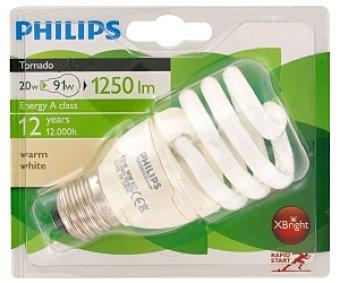 Philips Bombilla espiral bajo consumo Tornado, 827, 20W, blanco cálido, vida útil 12 años, E27 1u