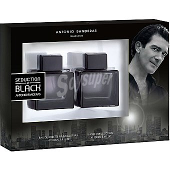 ANTONIO BANDERAS Black Seduction eau de toilette natural masculina spray 100 ml + after shave loción frasco 100 ml Spray 100 ml