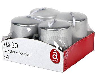 Actuel Set de 4 velas de 3,8 x 5 centímetros de color plata, ACTUEL.