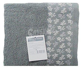 AUCHAN Toalla de algodón para lavabo, estampado jacquard color gris, 50 x100 centímetros 1 Unidad