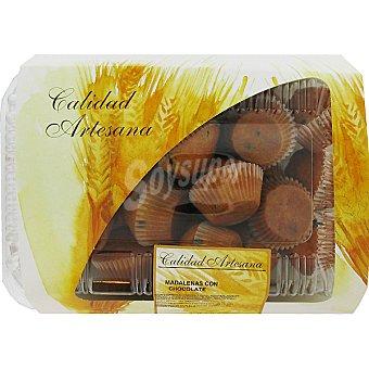 HIPERCOR mini magdalenas con chocolate producción propia bandeja 360 g 24 unidades