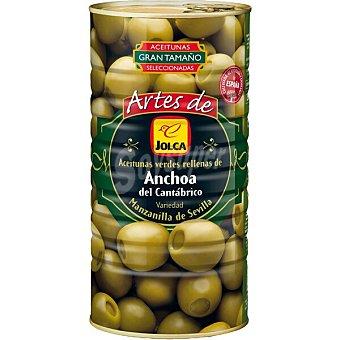 Artes de jolca Aceitunas verdes variedad manzanilla de Sevilla rellenas de anchoa del Cantábrico Lata 1,5 kg neto escurrido